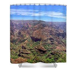 Hawaii Kauai Waimea Canyon Beautiful Panorama Shower Curtain by David Zanzinger