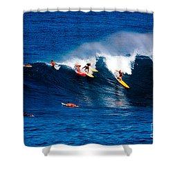 Hawaii Oahu Waimea Bay Surfers Shower Curtain