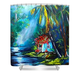 Hawaiian Hut In The Mist Shower Curtain