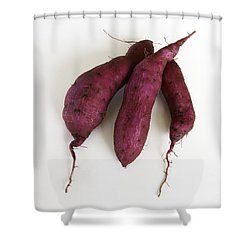 Hawaiian Purple Sweet Potatos Shower Curtain by Denise Bird