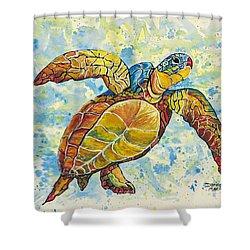 Shower Curtain featuring the painting Hawaiian Sea Turtle 2 by Darice Machel McGuire