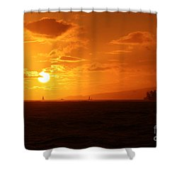 Hawaiian Sunset Shower Curtain by Mary Mikawoz