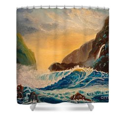 Hawaiian Turquoise Sunset   Copyright Shower Curtain