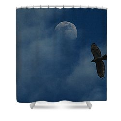 Hawk And Moon Coming Out Of The Mist Shower Curtain