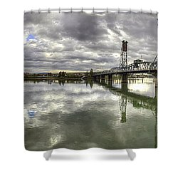 Hawthorne Bridge Over Willamette River Shower Curtain