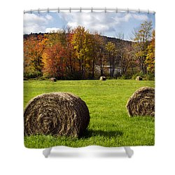 Hay Bales And Fall Colors Shower Curtain by Christina Rollo