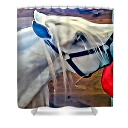 Hay For The White Horse Shower Curtain by Alice Gipson