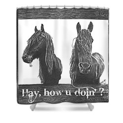 Hay How U Doin Card Shower Curtain
