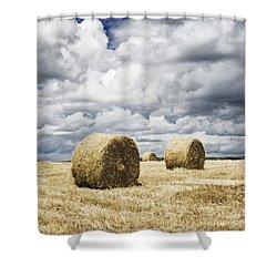 Haybales In A Field In England Uk Shower Curtain by Jon Boyes