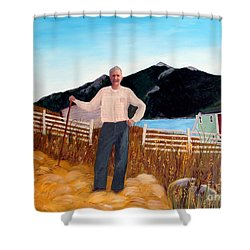 Haymaker With Pitchfork  Shower Curtain by Barbara Griffin
