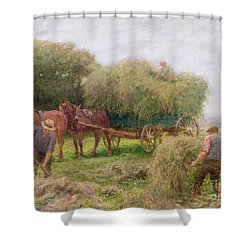 Haymaking Shower Curtain by Arthur Hopkins
