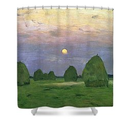 Hayricks At Dusk Shower Curtain by Isaak Ilyich Levitan