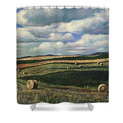Hayrolls On Swirl Field In Latrobe By Christopher Shellhammer Shower Curtain