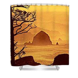 Shower Curtain featuring the photograph Haystack Burnt Sienna by Wendy McKennon