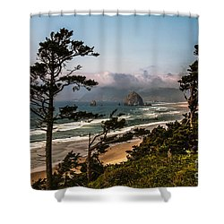 Haystack Framed Shower Curtain by Robert Bales