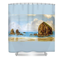 Shower Curtain featuring the relief Haystack Relief by Wendy McKennon