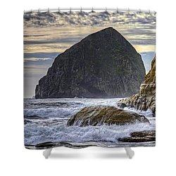 Haystack Rock At Cape Kiwanda Shower Curtain by David Gn