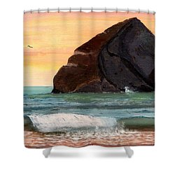 Haystack Rock At Kiwanda Shower Curtain by Chriss Pagani