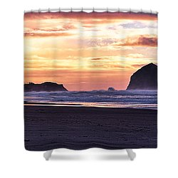 Haystack Rock Beach Walk Sunset Shower Curtain