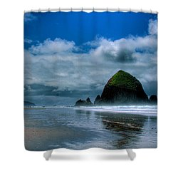 Haystack Rock Iv Shower Curtain by David Patterson