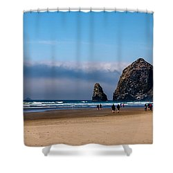 Haystack Rock Shower Curtain by Robert Bales