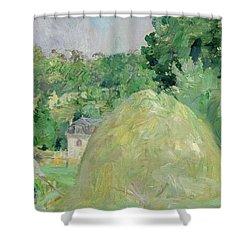 Haystacks At Bougival Shower Curtain by Berthe Morisot