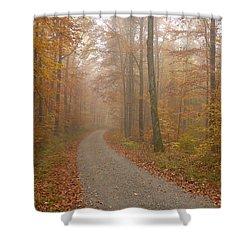 Hazy Forest In Autumn Shower Curtain by Matthias Hauser