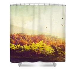 Hazy Morning In Trossachs National Park. Scotland Shower Curtain by Jenny Rainbow