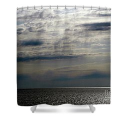Hdr Storm Over The Water  Shower Curtain by Joseph Baril