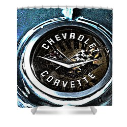 Shower Curtain featuring the photograph Hdr Vintage Corvette Emblem Art by Lesa Fine