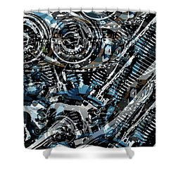 Abstract V-twin Shower Curtain