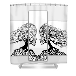 He And She In Love Triptych Acrylic On Canvas Shower Curtain