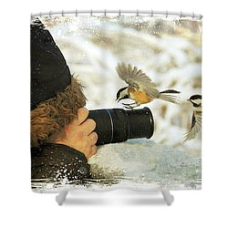 He Has Food I Know It Shower Curtain by Davandra Cribbie