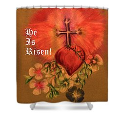 He Is Risen Greeting Card Shower Curtain by Maria Urso