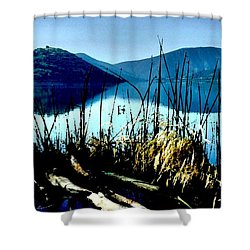 He Leads Me Beside Still Waters Shower Curtain by Sharon Soberon