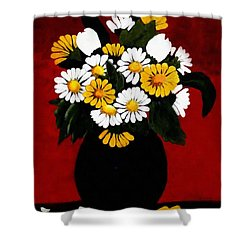He Loves Me... Shower Curtain by Barbara Griffin