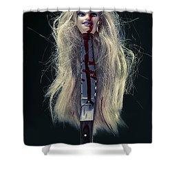 Head And Knife Shower Curtain by Joana Kruse