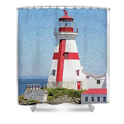 Head Harbour Lighthouse Pencil Sketch Shower Curtain
