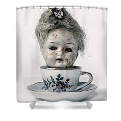 Head In Cup Shower Curtain by Joana Kruse