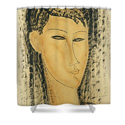 Head Of A Young Women Shower Curtain by Amedeo Modigliani