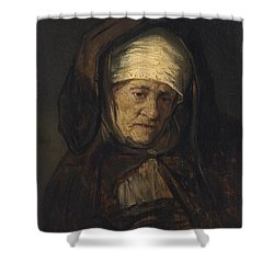 Head Of An Aged Woman Shower Curtain by Rembrandt