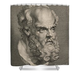 Head Of Socrates Shower Curtain by Anonymous