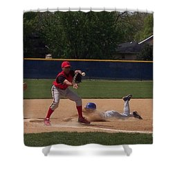 Head Slide In Baseball Shower Curtain by Thomas Woolworth