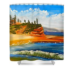 Headlands Shower Curtain by Pamela  Meredith