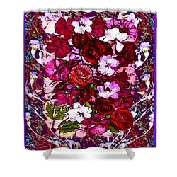 Shower Curtain featuring the mixed media Healing Flowers For You by Ray Tapajna