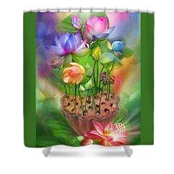Healing Lotus - Chakras Shower Curtain by Carol Cavalaris