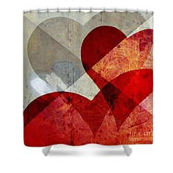 Hearts 8 Square Shower Curtain by Edward Fielding