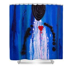 Heart And Soul - Angel Art Blue Painting Shower Curtain by Sharon Cummings