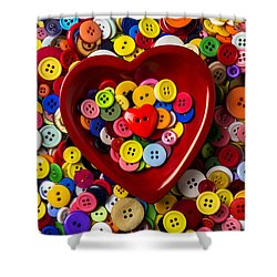 Heart Bowl With Buttons Shower Curtain by Garry Gay