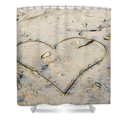 Heart In The Sand Shower Curtain